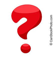 vermelho, pergunta, marca