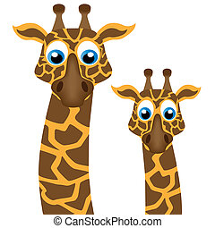 Two funny giraffe, vector illustration