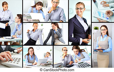 Happy colleagues - Collage of happy female colleagues...