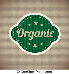organic stickers over vintage background vector illustration...