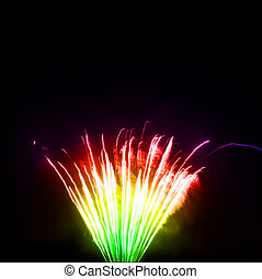 Colorful fireworks in the night sky. Vector