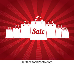 sale bags over red background vector illustration