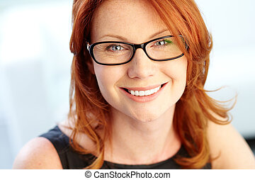 Woman in eyeglasses - Close-up shot of a wonderful...
