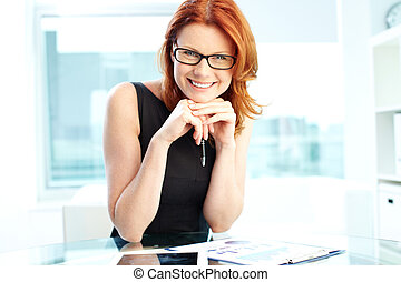 Prosperous entrepreneur - Successful business woman laughing...