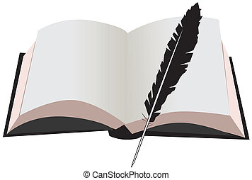 book - vector book and feather