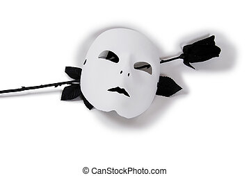 White Mask Black Rose - Plain White Mask ready for...