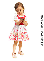 Toddler girl with phone mobile