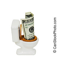 Money down the toilet - Porcelain toilet with wooden seat...