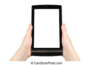 Hands holding touch screen tablet pc