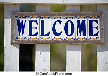 Welsome sign - Welcome sign on stores door in St Augustine,...