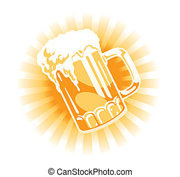 Vector. Beer tankard illustration with sun beams