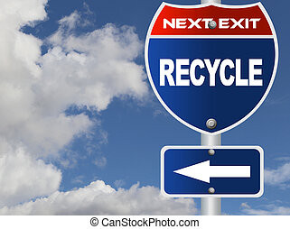 Recycle road sign