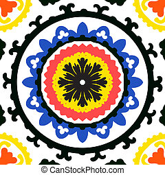 Suzani pattern - Suzani, vector seamless ethnic pattern with...