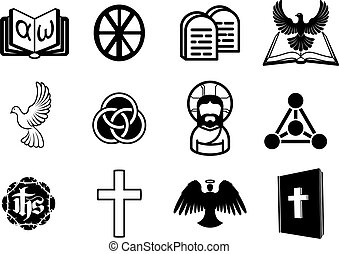 Christian icon set - A Christian religious icon set with...