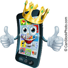 Cartoon phone man king - A cute happy cartoon phone man king...