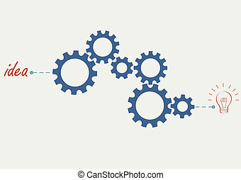 Concept vector with abstract gear wheels. Variation -1