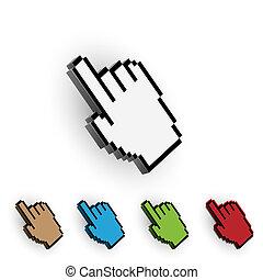 Hand cursor. Vector set