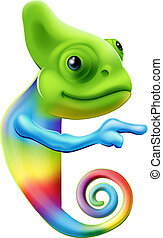 Rainbow chameleon pointing - An illustration of a cute...