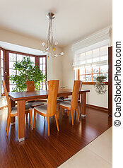 Classy house - dining room with wooden table