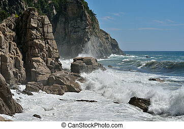 Rocks and surf 5 - A landscape on sea: rocks, waves, surf...