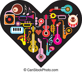Love Music Heart. Musical instruments on heart shape...