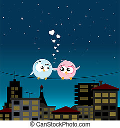 birds in love - vector illustration of birds in love