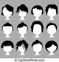 hair styles - vector set of various hair styles