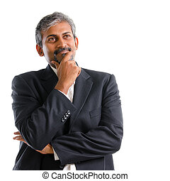 Indian businessman thinking. Attractive mature gray hair...