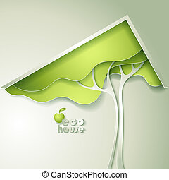 Abstract vector GREEN eco house