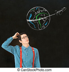 Nerd geek businessman chalk globe jet world travel - Nerd...