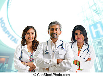 Indian medical team - Indian doctors. Group of Indian...