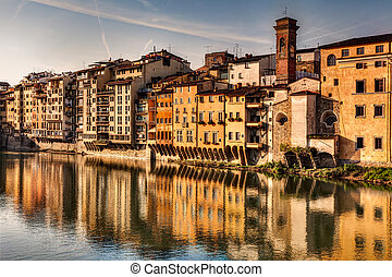 Arno river in Florence - old buildings on the Arno river in...