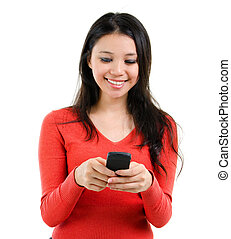 Texting on mobile phone - Young Woman smiling and texting on...