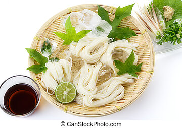 Somen - Japanese style thin wheat noodles - on bamboo...
