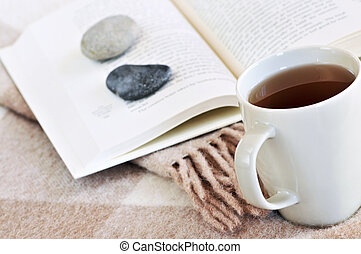 Relaxing reading with tea