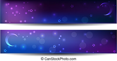 Two night banners with stars and moon in dark purple and...