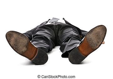 homem negócios, deitando, BAIXO, branca, fundo