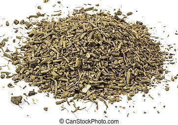 Heap of dried valerian - Dried valerian on white