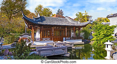 Chinese garden, temple house panorama - panorama scene of a...