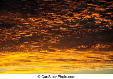Orange sky at sunset. - Clouds and sky at sunset, Spain,...