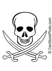 cranio, cruzado, espadas