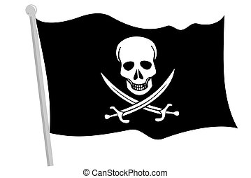 A Black pirate flag with pole