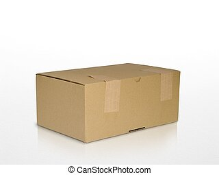 brown carton box isolated on white with reflection