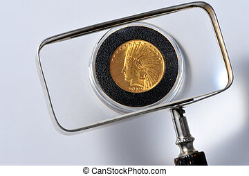 Gold Indian Coin - Gold 10 dollar coin under the glass