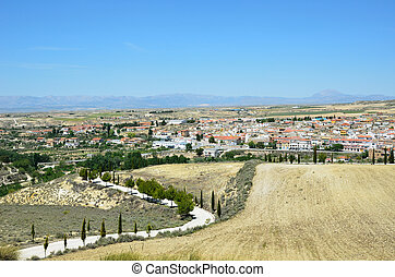 Granada's spring view with town Cullar - Cullar is a small...