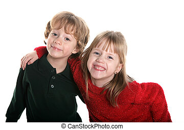 So sweet - A set of boy/girl twins on white
