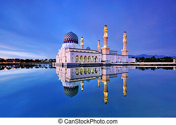 Kota Kinabalu Mosque at Blue Hour - Reflection of Mosque at...