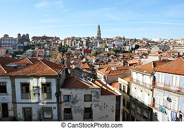 Oporto - Panoramic view of the old city of Porto, from the...