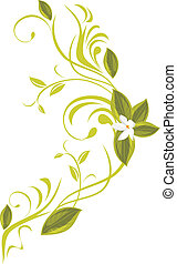 Blooming sprig. Vector illustration