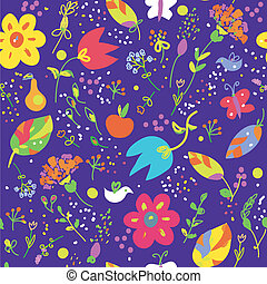 Floral seamless pattern with bird cute design